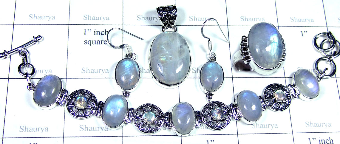 Sterling silver Rainbow Moonstone Set-SYSET026