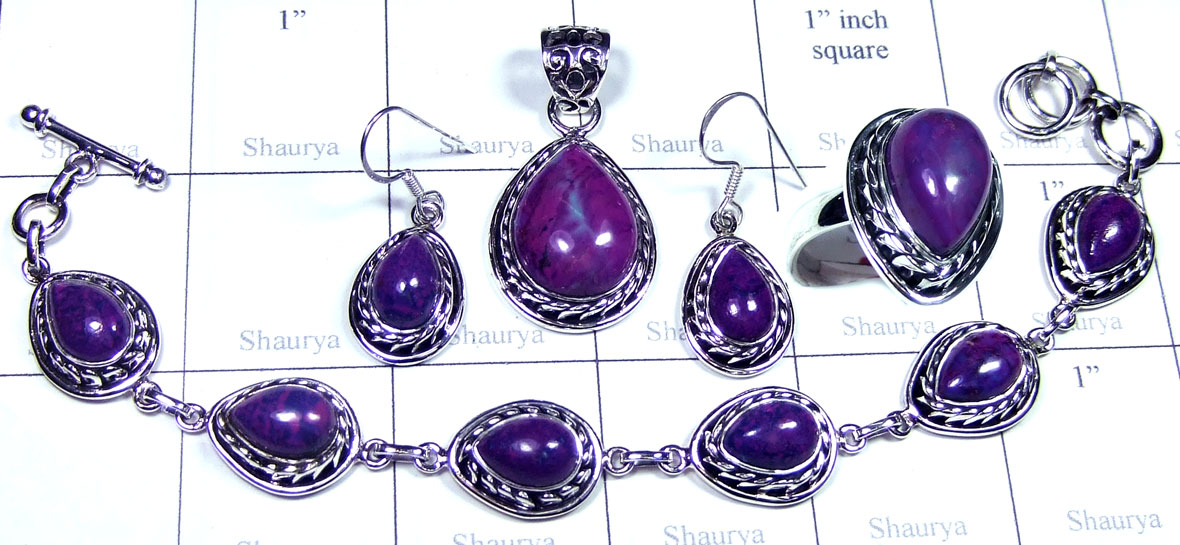 Purple Turquoise gems Set-SYSET029