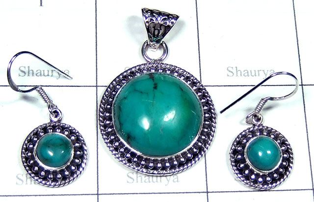 Sterling silver Turquoise gems Set-SYSET032