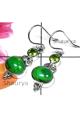 Mohave Green Turquoise silver Earring-TQE003