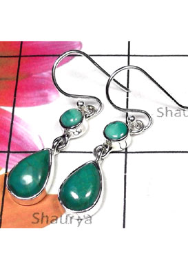 Beautiful Turquoise gems silver Earring-TQE004