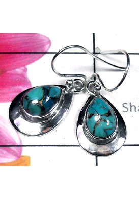 Blue copper Turquoise silver Earring-TQE005