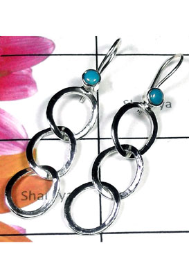 Blue Turquoise gems silver Earring-TQE007