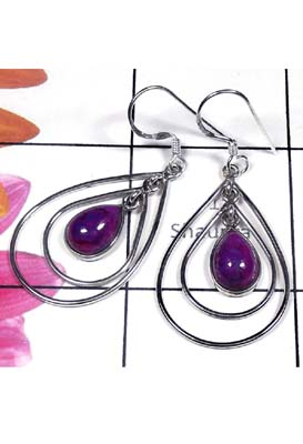 Purple Turquoise silver gems Earring-