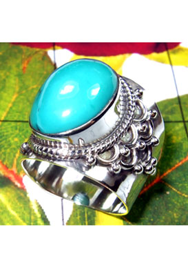 Wholesale silver Blue Turquoise Ring-TQR004