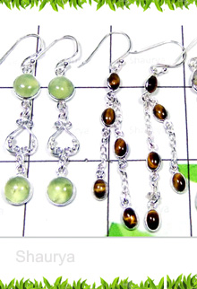 W2BCE997-250 gm-Cab Long Hanging Bejel Setting Earrings
