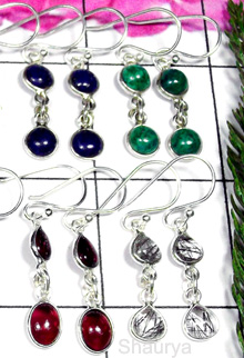 W2BCE998-250 gm-Wholesale Silver Gemstone Cab Bejel Setting Earrings 2 stone