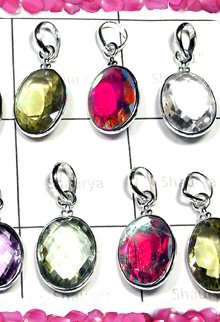 W2BCP998-250 gm-Exclusive silver Gemstone Cut Bejel Setting Pendants
