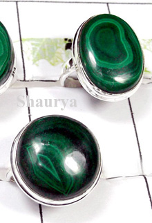 W2CBR989-700 gm-Beautiful Malachite Cabochon Rings