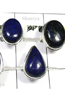 W2CBR990-700 gm-Sterling Silver Cabochon Rings With Lapis