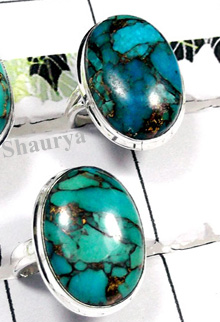 W2CBR994-700 gm-700 gm-Wholesale Blue Copper Turquoise Cabochon Rings