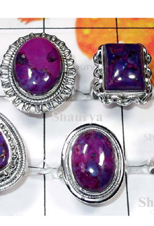 W2CBR996-700 gm-Cabochon Rings With Purple Copper Turquoise