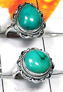 W2CBR999-700 gm-Sterling Silver Cabochon Rings With Turquoise