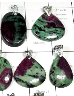 W2DP945-250 gm- Exclusive Silver Drilled Pendants with Ruby Zosite