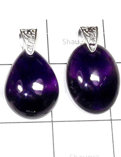 W2DP959-250 gm-Amethyst Semiprecious Gemstone Silver Drilled Pendants
