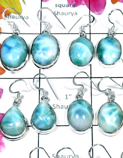 W2GL996-250 gm-Wholesale Silver with Larimar Fabulous Earrigns