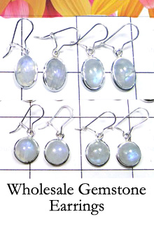 W2GRM999-250 gm- Exclusive Silver Rainbow Moonstone Earrings