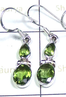 W2LCE989-10 Pair-925 Sterling Silver Earrings With Semi Precious Stones