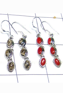 W2LCE996-10 Pair-Sterling Silver Cut & Cab Stone Earrings