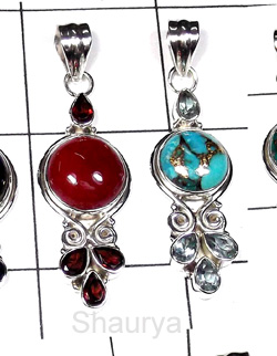 W2LCP937-10 Pcs-Wholesale Silver With Multi Cut & Cab Gemstone Pendants