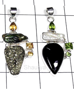 W2LCP938-10 Pcs- Multi Semiprecious Gemstone Silver Pendants