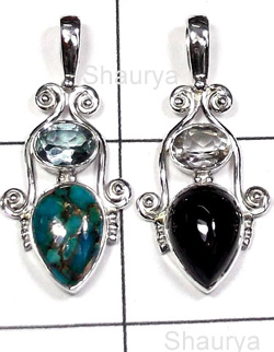 W2LCP939-10 Pcs-Elegant Multi Gemstone 925 Silver Pendants