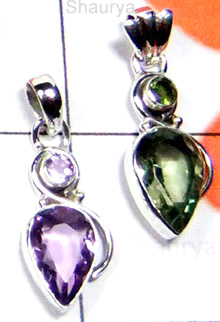 W2LCP945-10 Pcs-Semiprecious Gemstone Silver Pendants