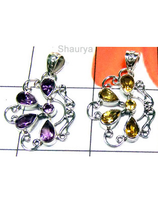 W2LCP947-10 Pcs-Wholesale Cut Gemstone Silver Pendants