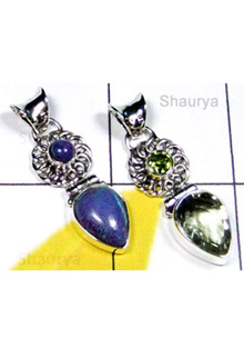 W2LCP951-10 Pcs-Wholesale Silver Cut & Cab Gemstone Pendants