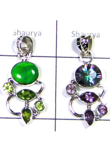 W2LCP952-10 Pcs-Creative Design Silver Gemstone Pendants