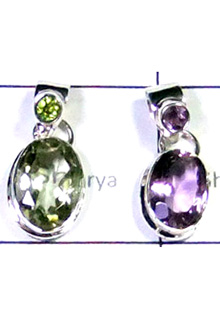 W2LCP953-10 Pcs-Elegant Cut Gemstone 925 Silver Pendants