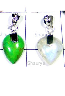 W2LCP954-10 Pcs-Wholesale Silver Color Gemstone Pendants
