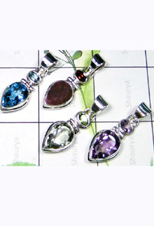 W2LCP999-10 Pcs-Beautiful Cut Multi Stone Light Weight Pendants