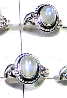 W2LCR998-Accent Rainbow Moonstone Oval Shape Rings-10 Pcs