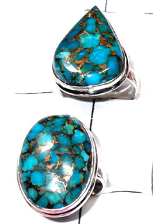 W2MT987-250 gm-Blue Copper Turquoise 925 sterling silver Rings