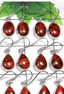 W2MT996-250 gm-Beautiful Red Copper Turquoise Hanging Earrings