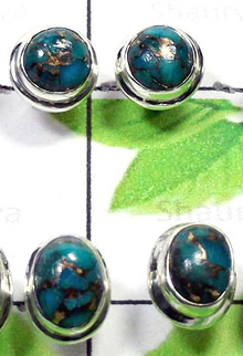 W2PS999-100 Pair-Natural Blue Copper Turquoise Plain Setting Studs Earrings