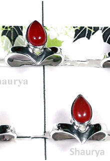 W2SCR974-300 gm-Sterling Silver Rings With Red Onyx