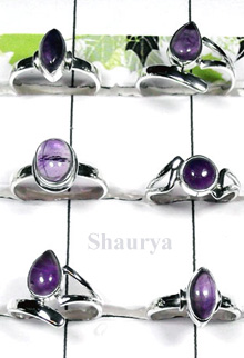 W2SCR982-300 gm-Sterling Silver Rings With Amethyst