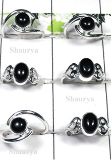 W2SCR987-300 gm-Sterling Silver Rings With Black Onyx
