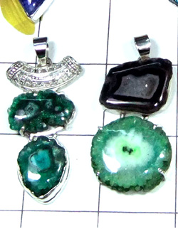W2WDP998-250 gm-Multi Drusy Semiprecious Gemstone Silver Pendants
