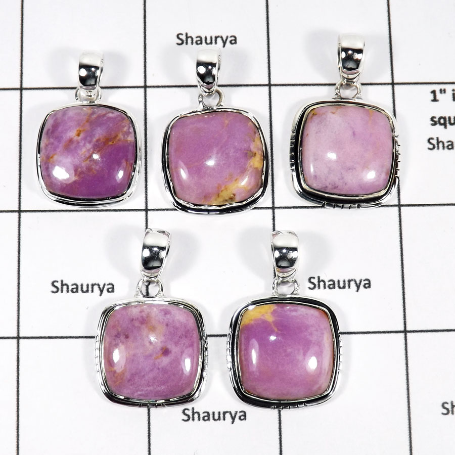 WBG943-10 Pcs 100 Gram Wholesale Lot Phosphoderite Gemstone Pendants 925 Sterling Silver