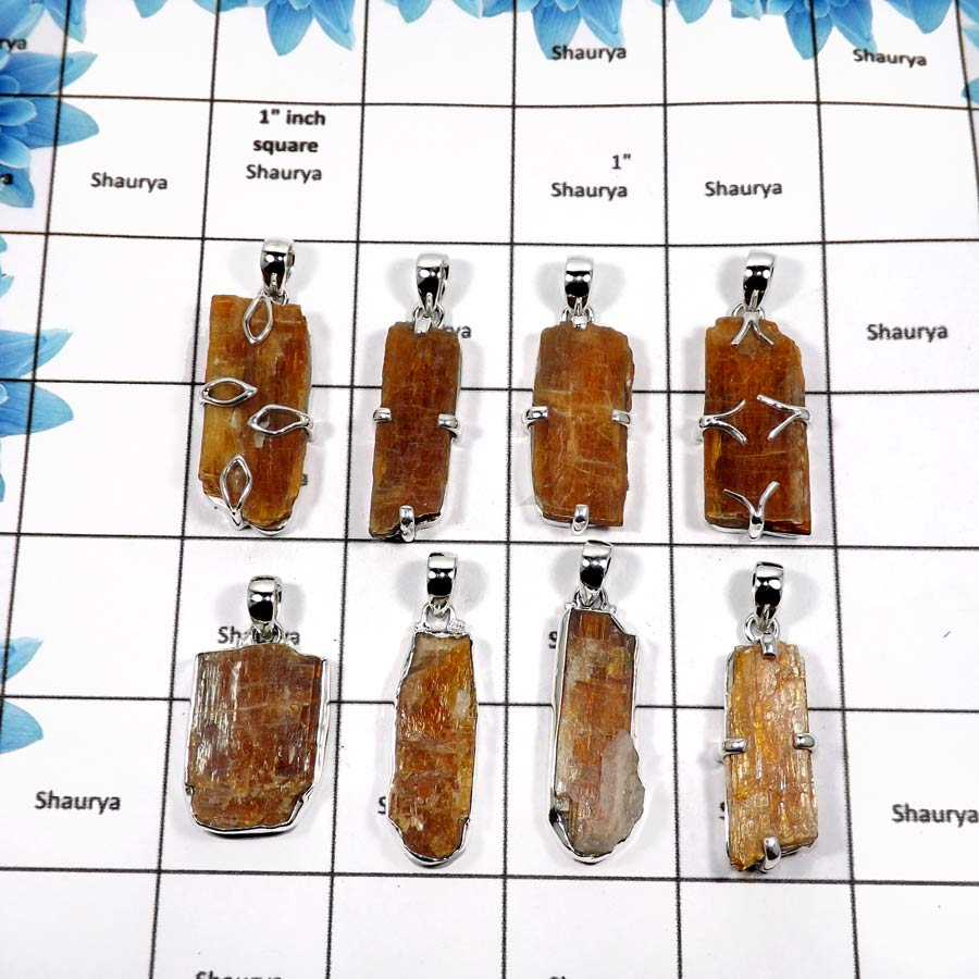 WBG847-8 Pcs Exclusive Orange Kyanite Handmade Wholesale Pendants 925 Sterling Silver