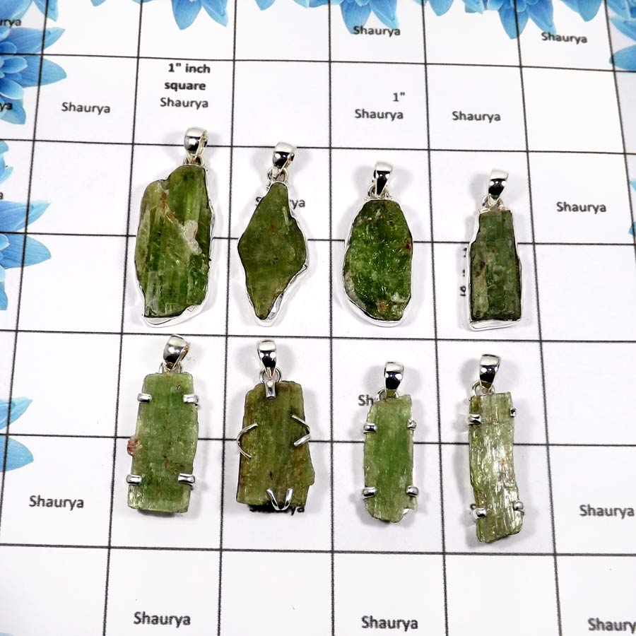 WBG848-8 Pcs Rough Green Kyanite Gemstone Wholesale Handmade Pendants 925 Sterling Silver