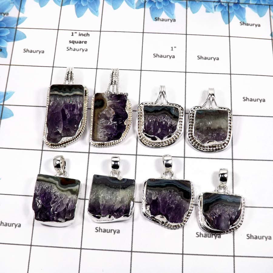 WBG849-8 Pcs Natural Amethyst Pencil Handmade Plain Setting Pendants 925 Sterling Silver