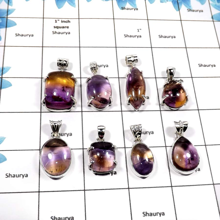 WBG857-8 Pcs Exclusive Gemstone Ametrine Amethyst Plain Setting Pendants 925 Sterling Silver