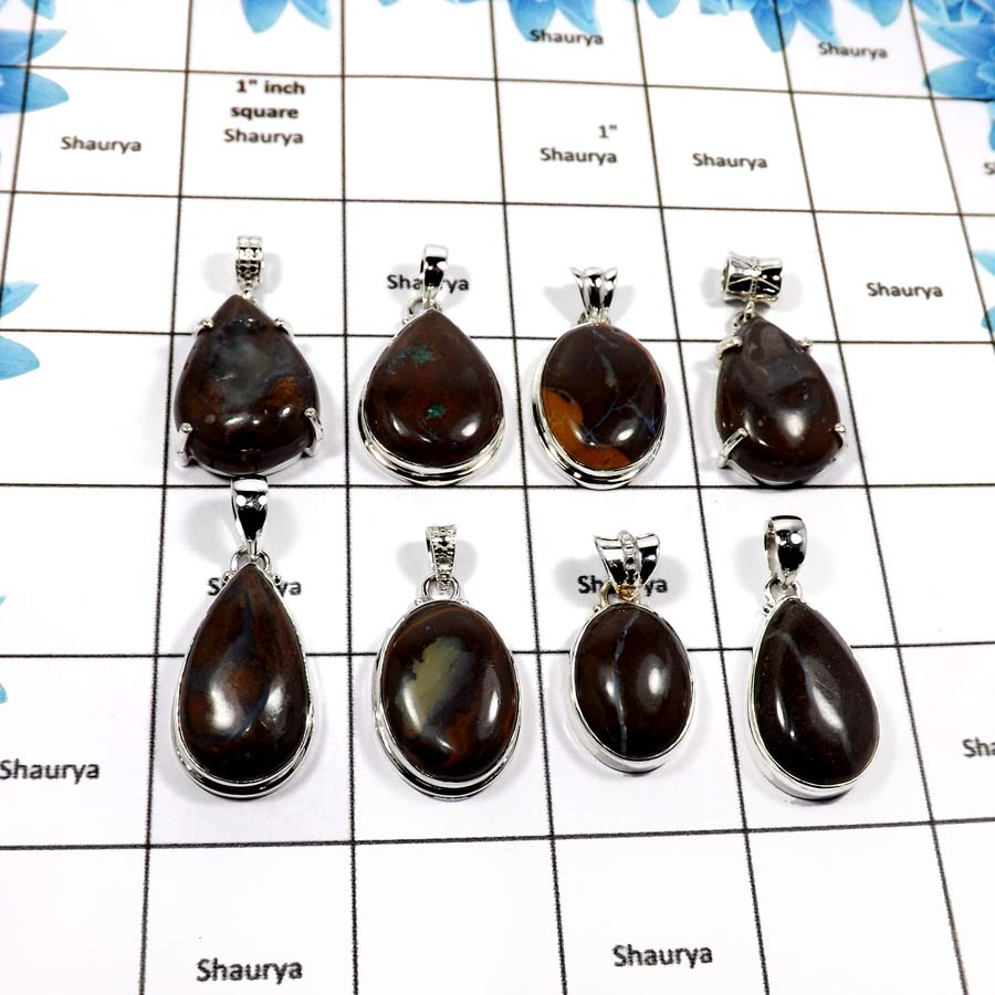 WBG858-8 Pcs Natural Boulder Opal Gemstone Wholesale Pendants 925 Sterling Silver