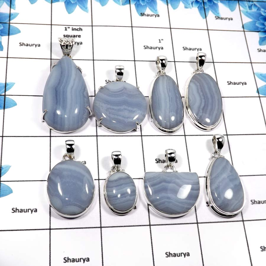 WBG859-8 Pcs Factory Wholesale Large Blue Lace Agate Gemstone Pendants 925 Sterling Silver