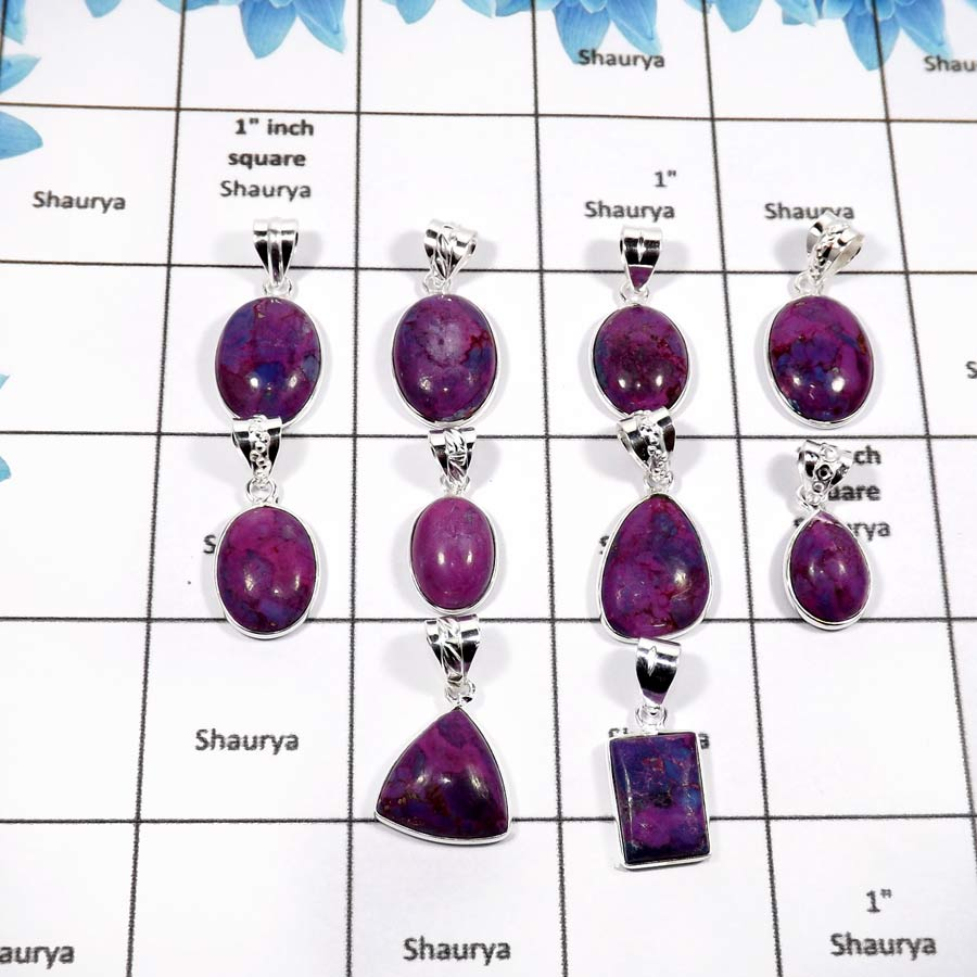 WBG878-10 Pcs Purple Turquoise Handmade Light Weight Bezel Pendants 925 Sterling Silver