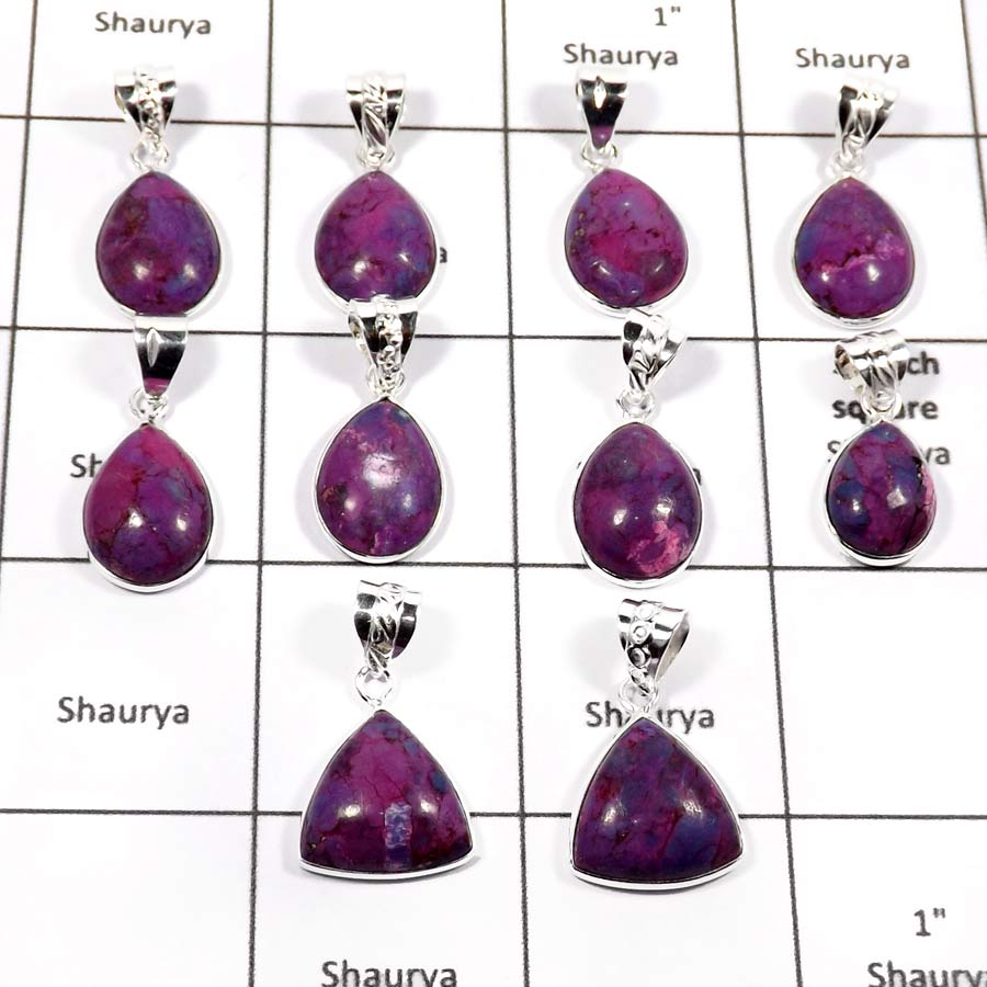 WBG883-10 Pcs Factory Wholesale Purple Turquoise Gemstone Bezel Pendants 925 Sterling Silver